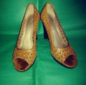 Light Brown Peep Toe Heels